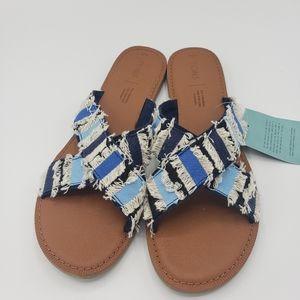 Toms Viv Navy coupe denim slide sandals NIB